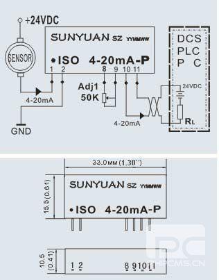 两线制4-20mA信号隔离调理器器应用及尺寸
