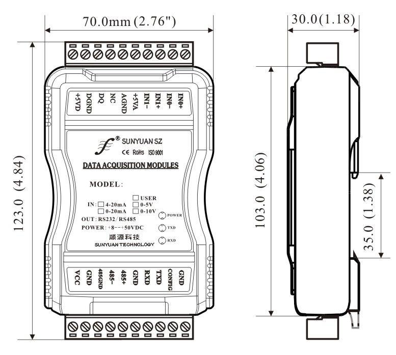 多通道模拟信号采集控制隔离变送器尺寸图