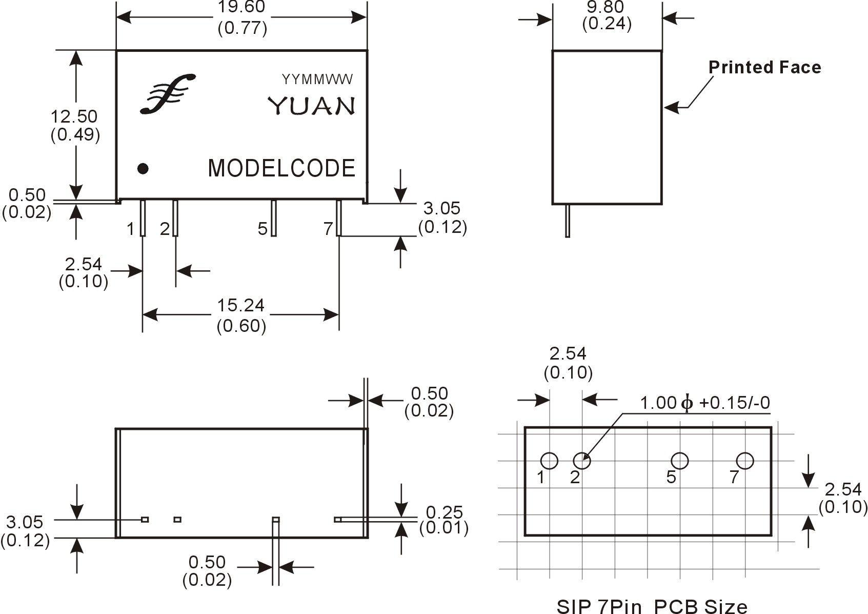 电能表专用6KVAC高隔离防静电DC/DC模块电源尺寸及布板